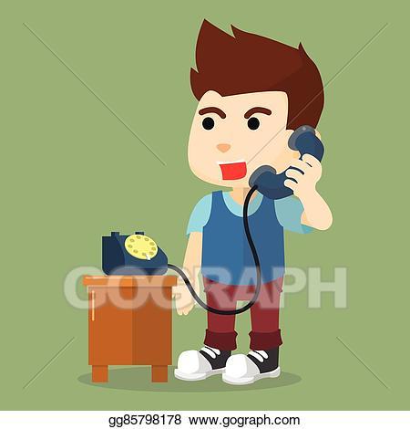 Vector stock talking on. Clipart phone boy