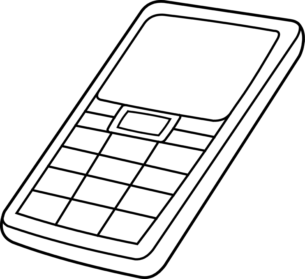 Clipart telephone outline. Cell phone colorable free