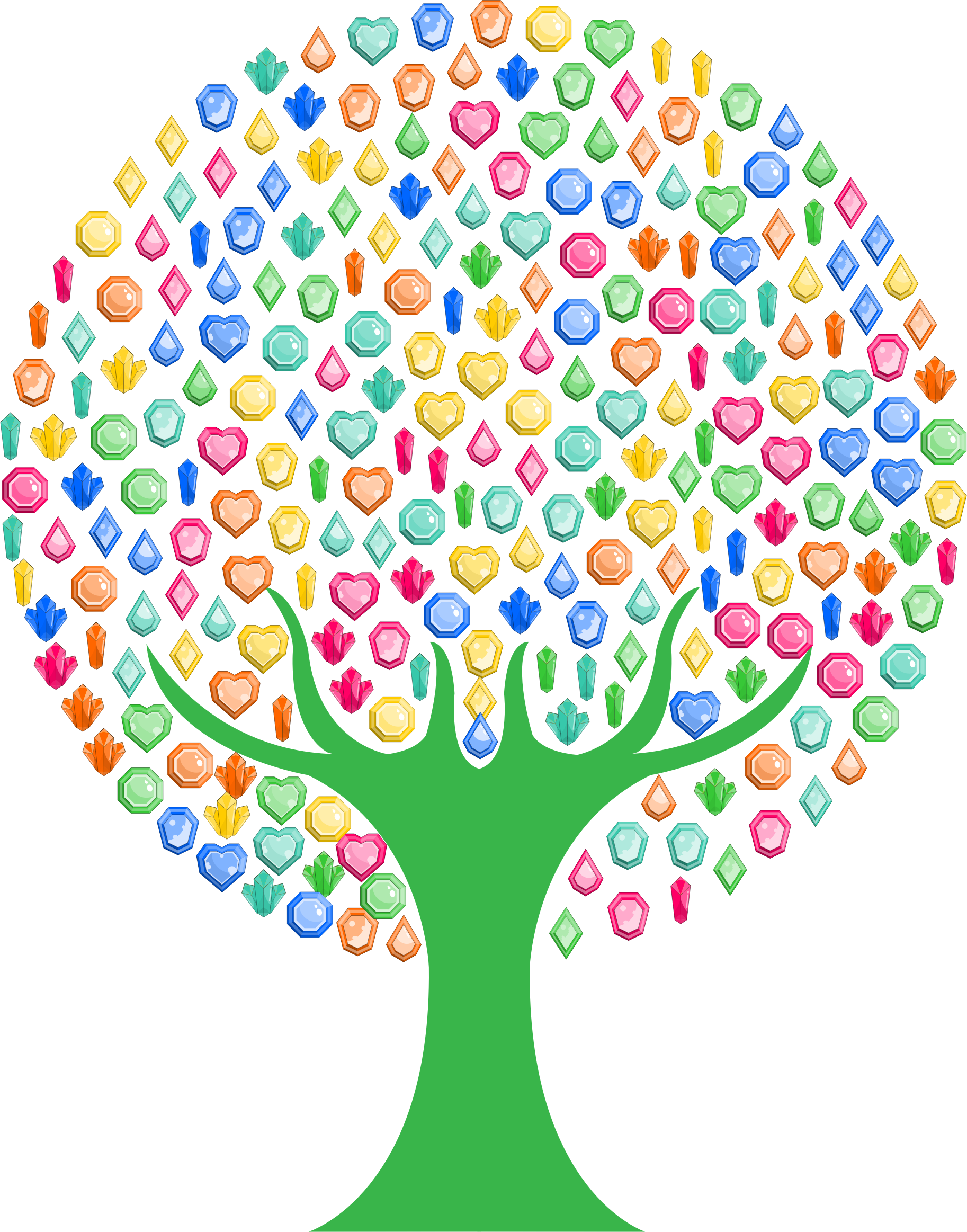 Colorful gems big image. Tree clipart circle