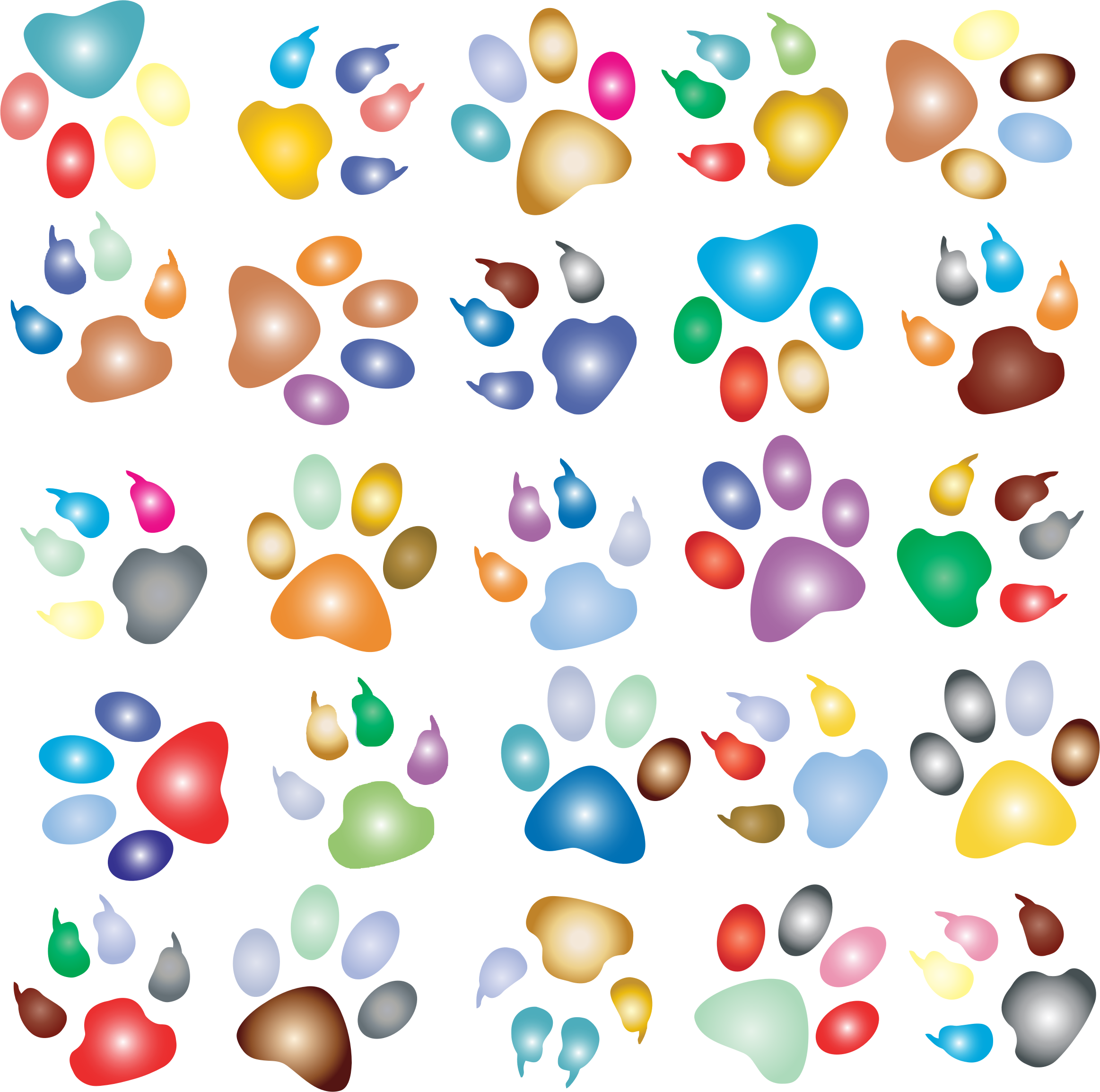 Colorful paw prints pattern. Colors clipart background