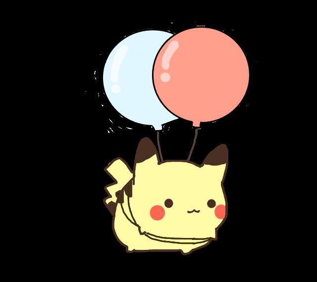 Clipart phone kawaii. Cute pikachu ballon pokemon