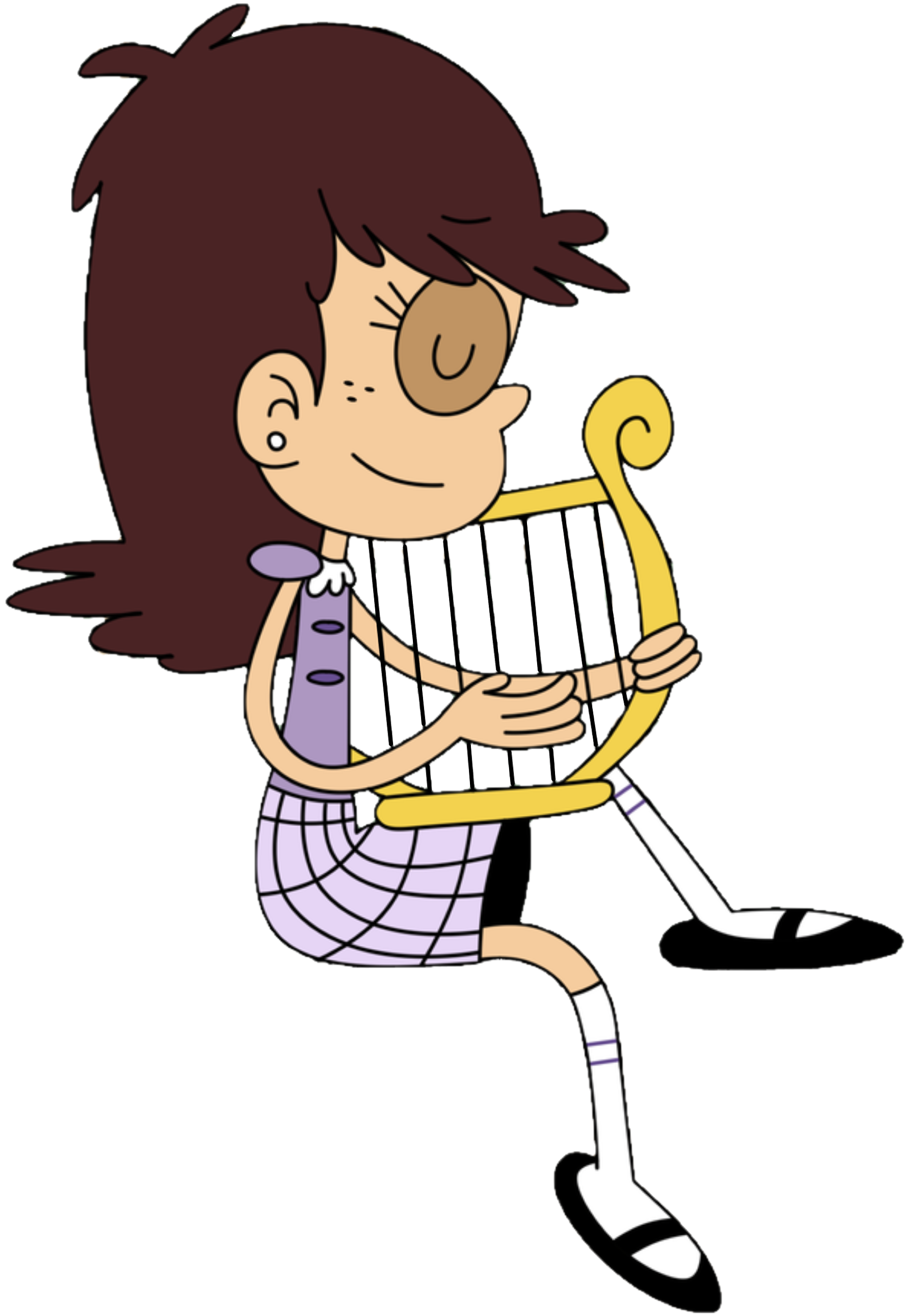 Image young luna plays. Clipart phone loud person