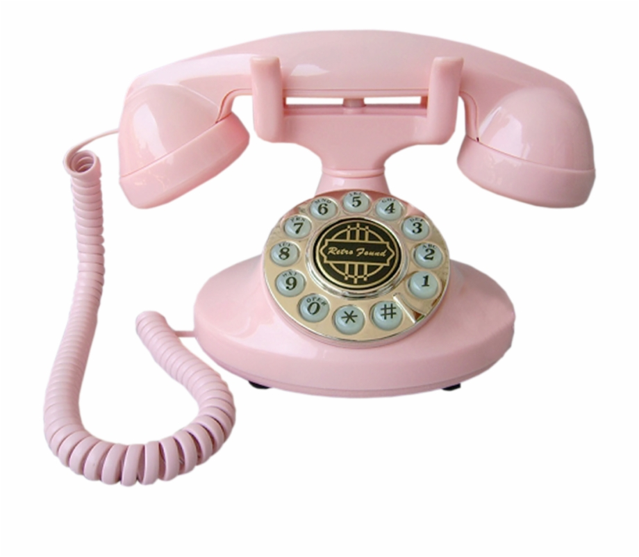 Telephone retro pink . Clipart phone old fashioned phone