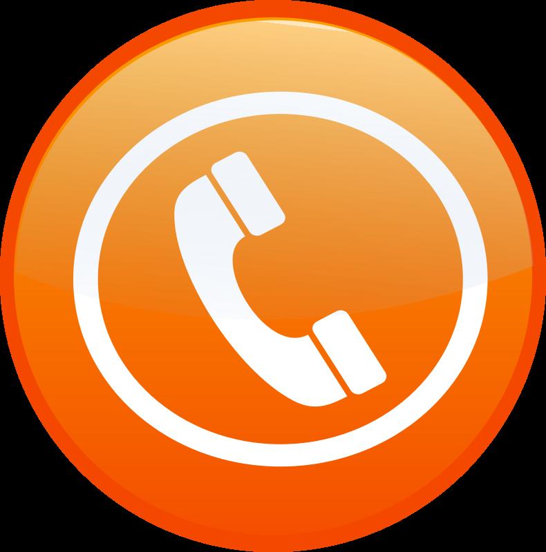 Orange clipart telephone. Phone icon button medium