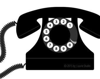 Etsy . Clipart phone retro