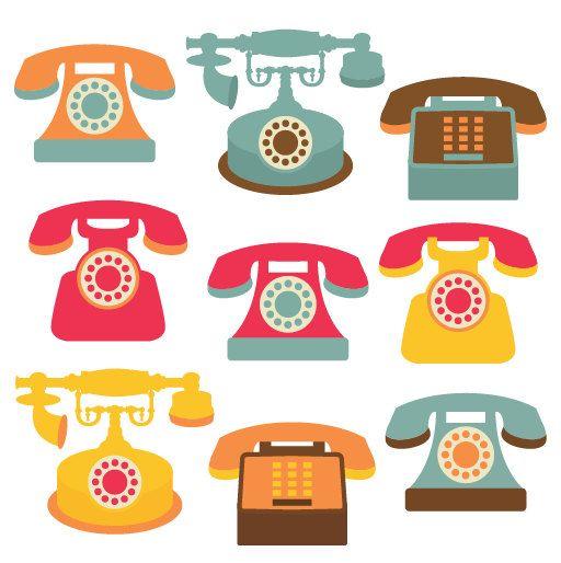 Phones graphic design love. Clipart phone retro