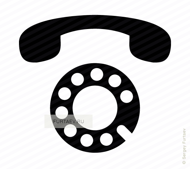 Vector icon of and. Telephone clipart rotary dial phone