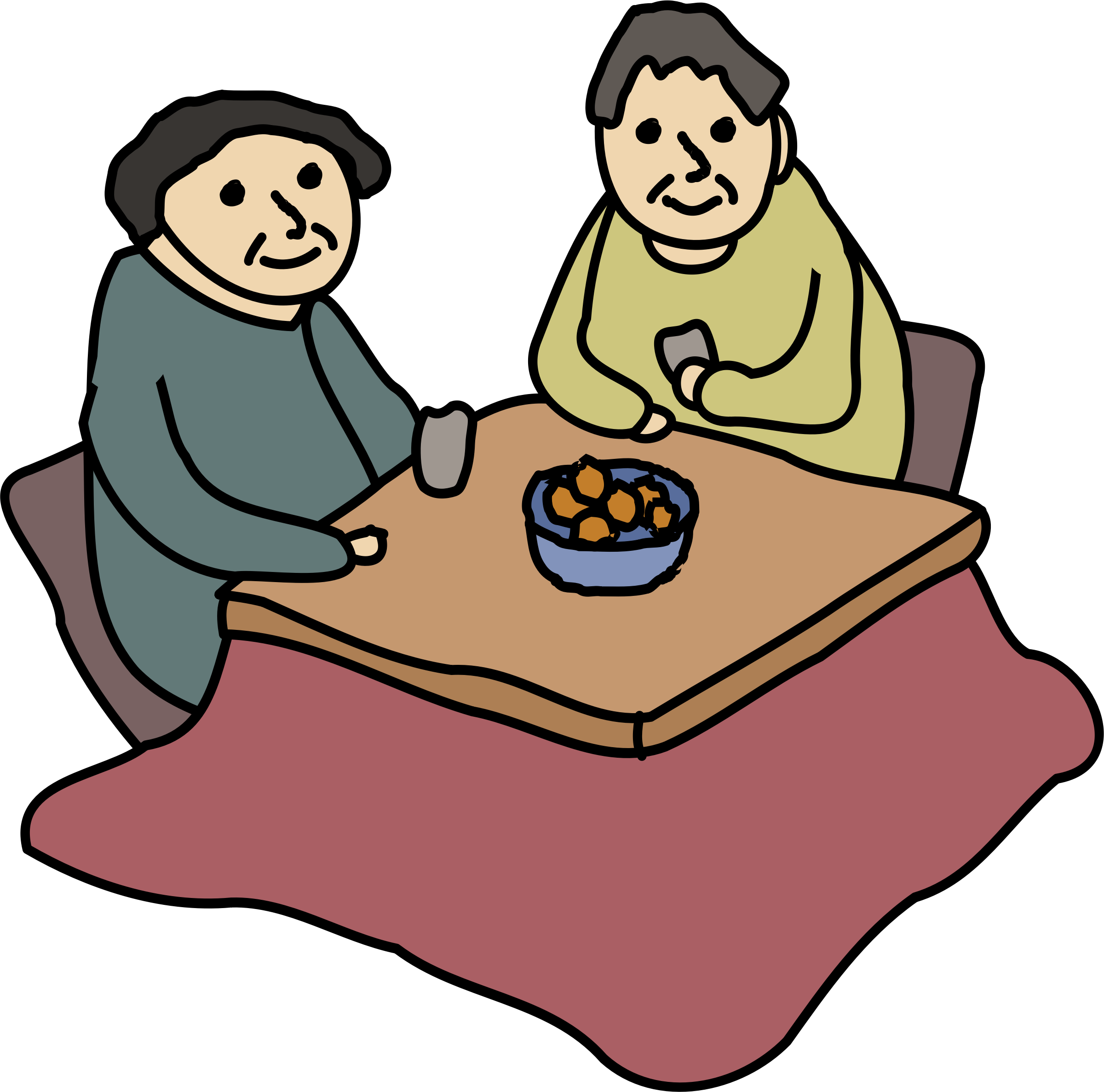 Kotatsu heated table icons. Japanese clipart winter