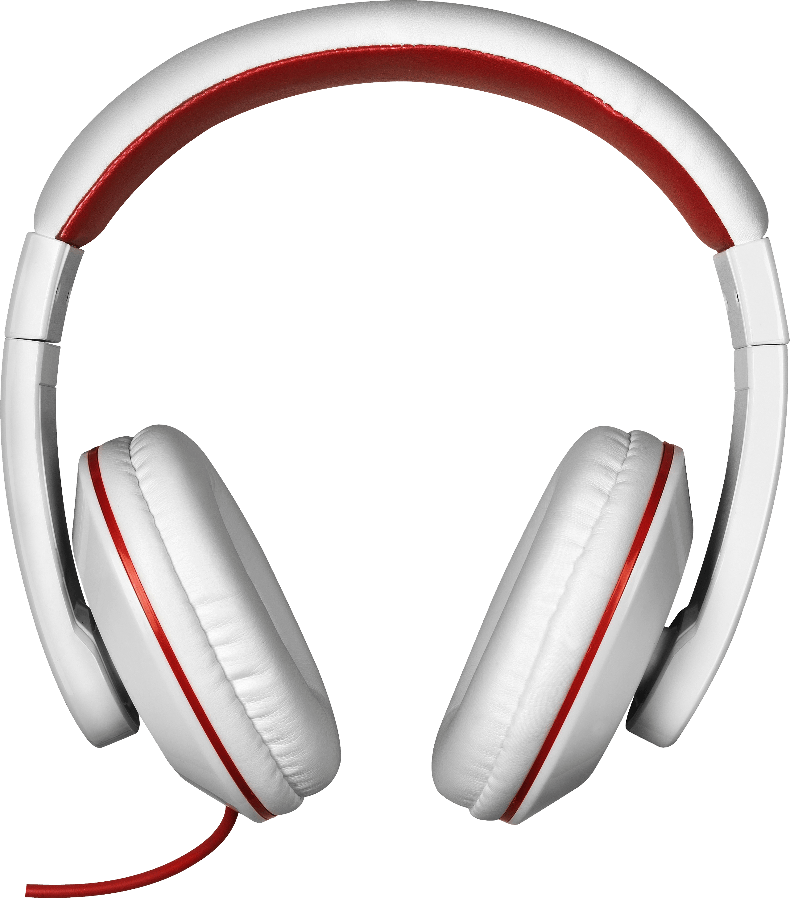 Red white headphones transparent. Electronics clipart head phone