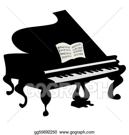 Stock illustration grand clip. Piano clipart black object