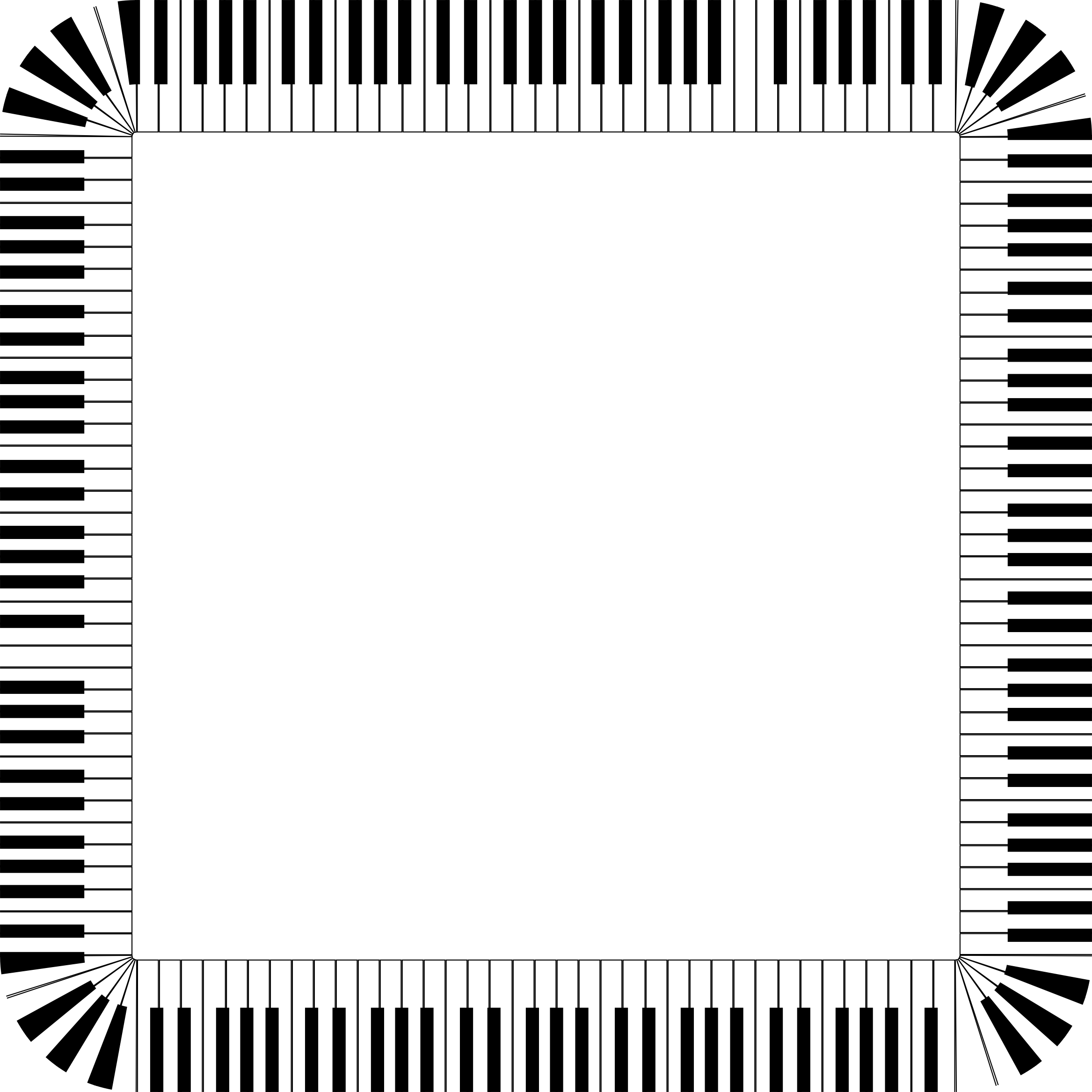 Piano clipart border. Keys rounded square big