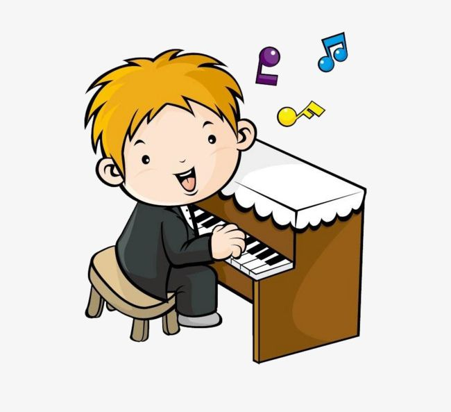 Piano clipart cartoon play. Boy playing the png