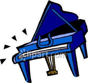 Piano clipart broken. A blue baby grand