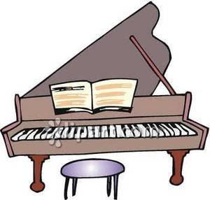 A big with sheet. Piano clipart broken