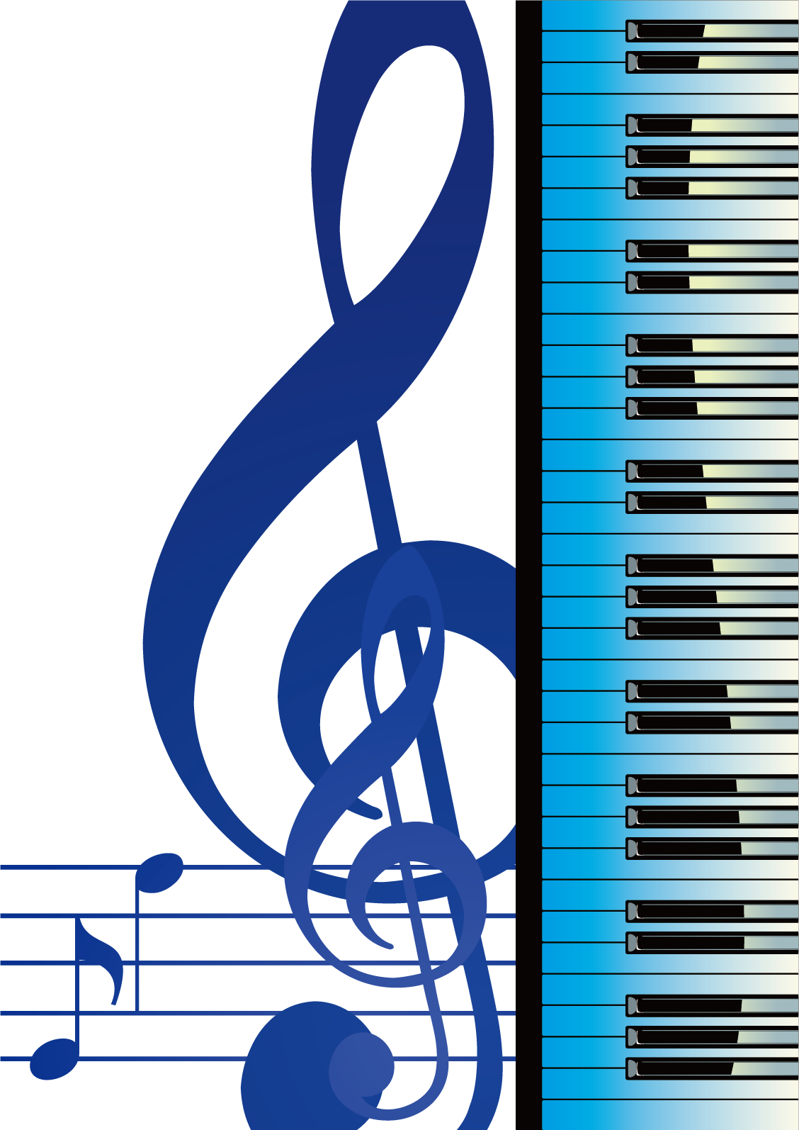 Musical render material picture. Piano clipart choir note