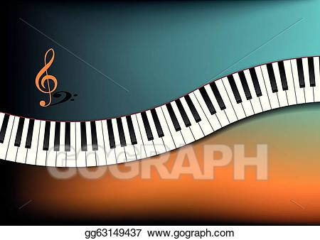 Vector illustration keyboard background. Piano clipart curved
