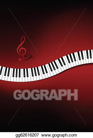 Piano clipart curved. Vector illustration keyboard background