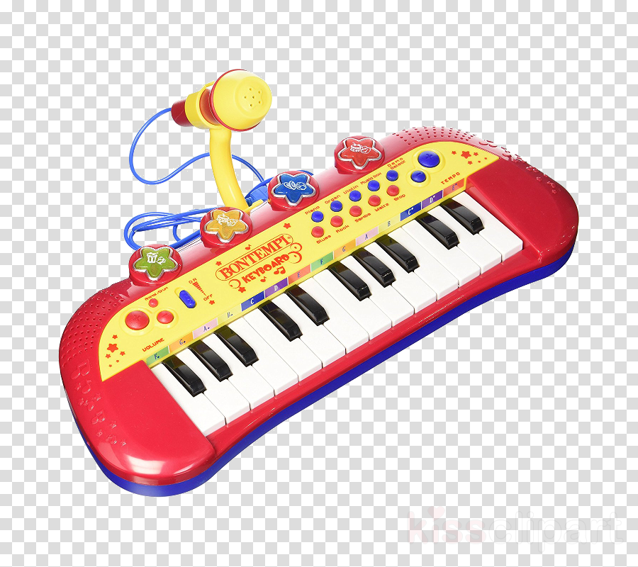 Microphone cartoon keyboard . Clipart piano electronic toy