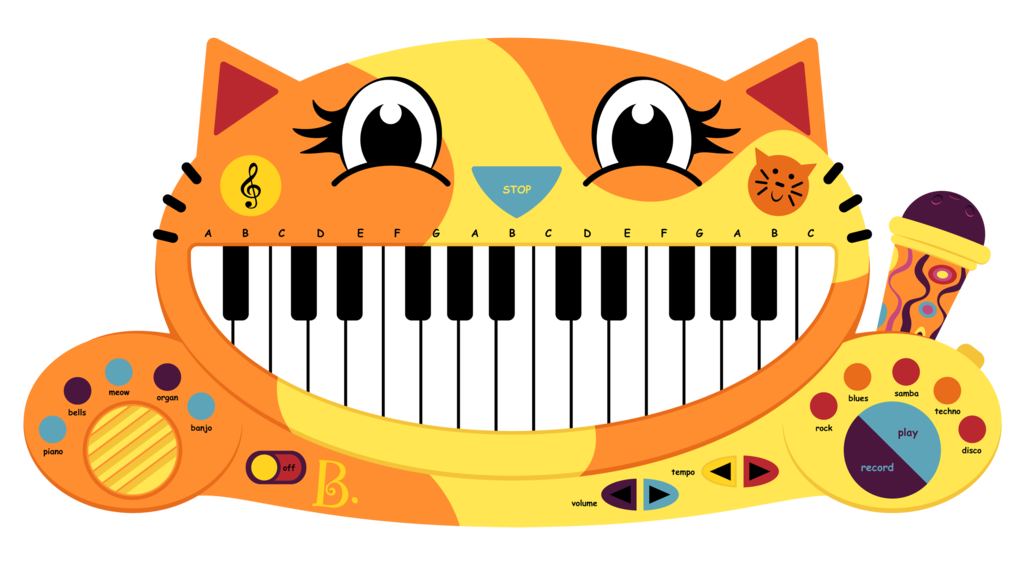 B meowsic keyboard by. Piano clipart green toy