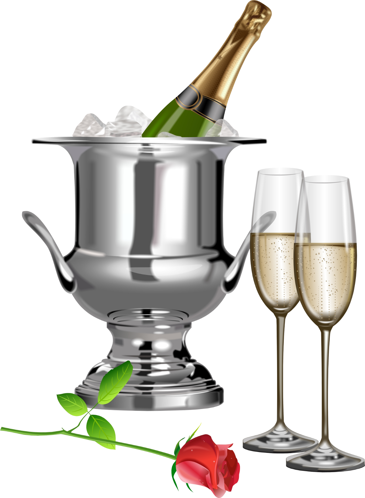 Champagne and rose transparent. Flutes clipart file