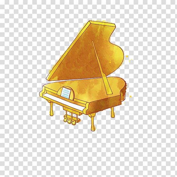 Cartoon animation transparent background. Clipart piano gold