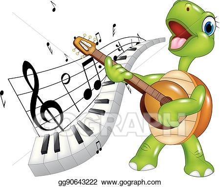Vector illustration cartoon turtle. Piano clipart happy