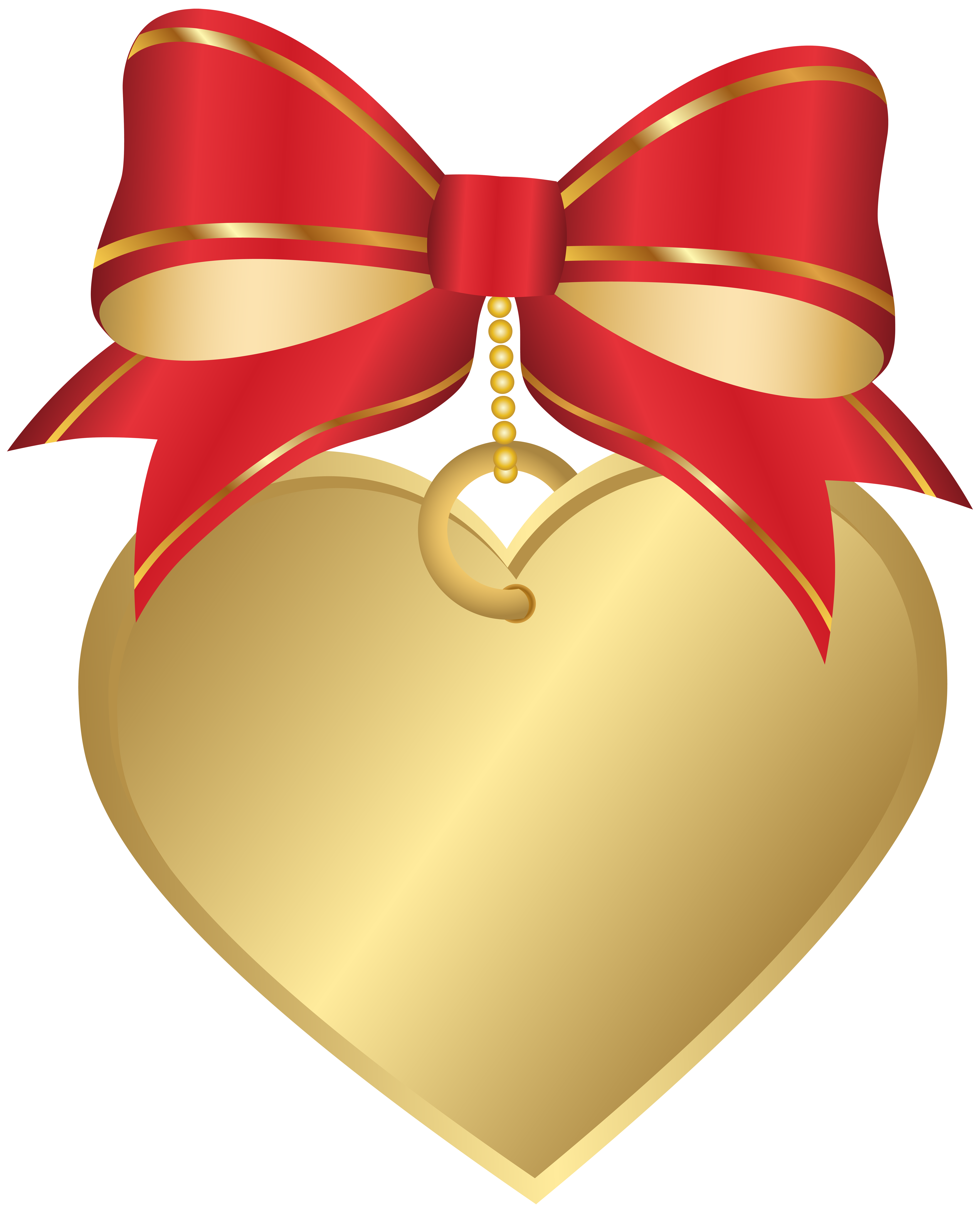 Gold with red bow. Piano clipart heart