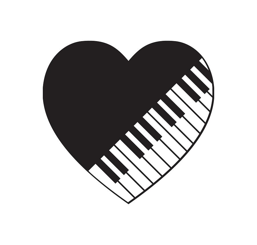 . Piano clipart heart