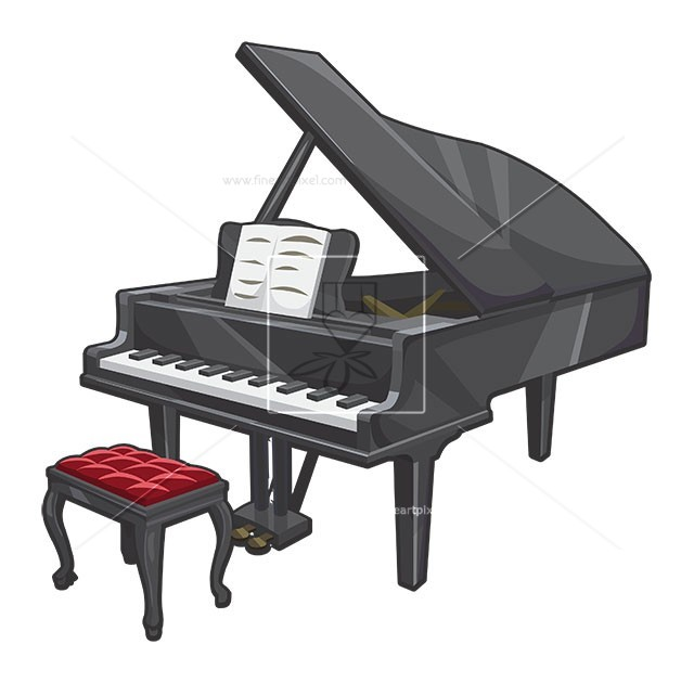 Grand free vectors illustrations. Piano clipart illustration