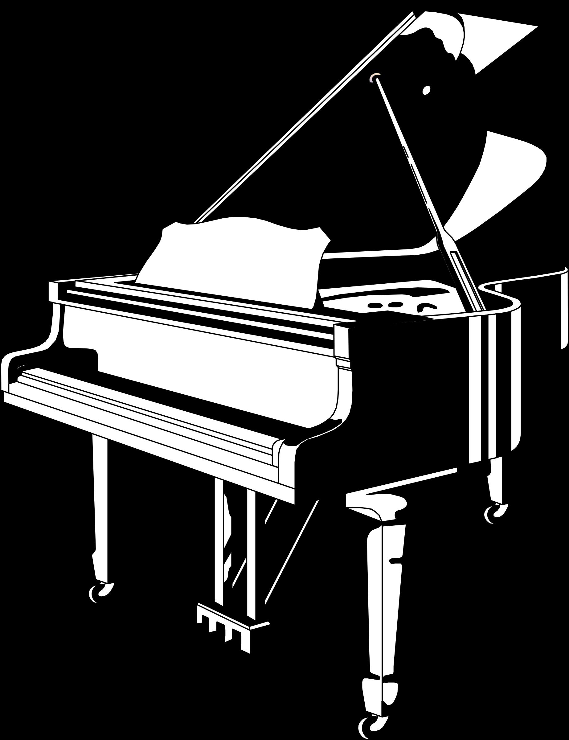 Black white big image. Piano clipart full keyboard