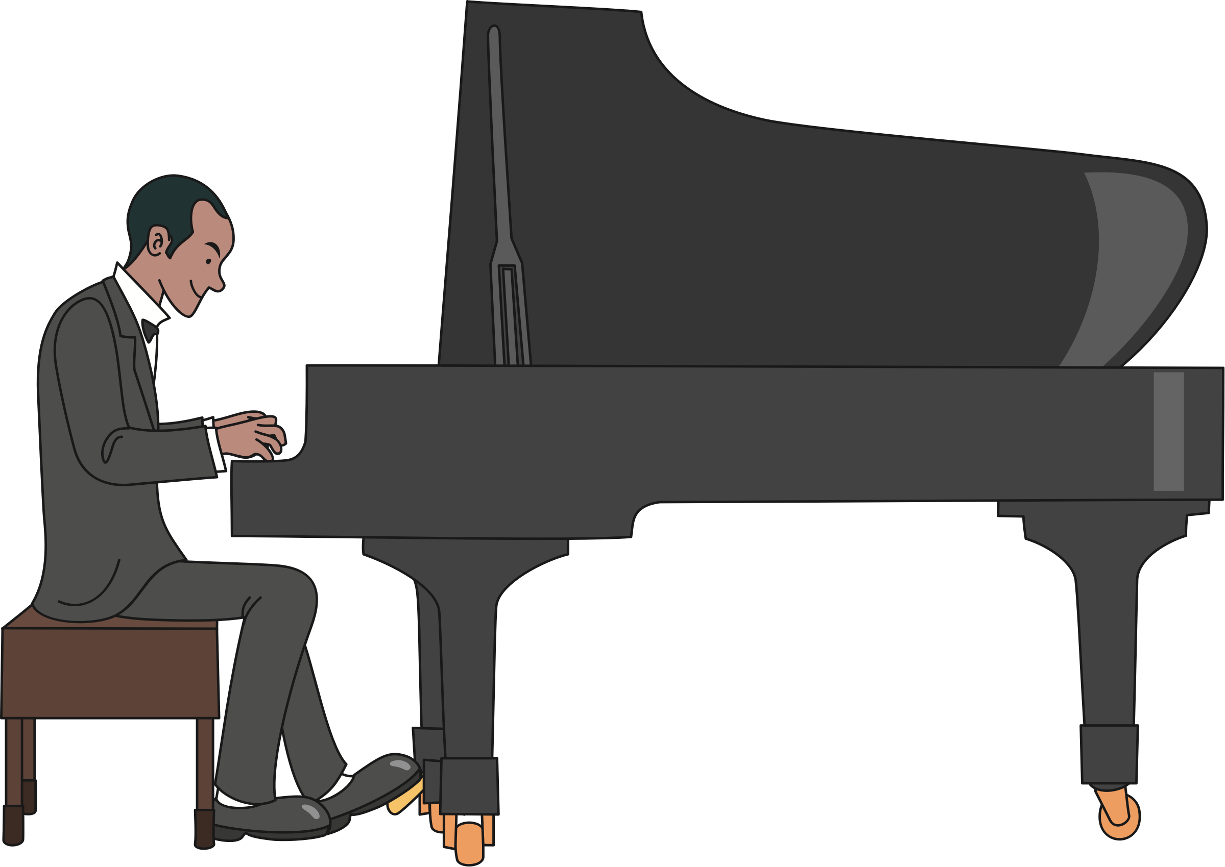 Male pianist big image. Flute clipart jazz piano