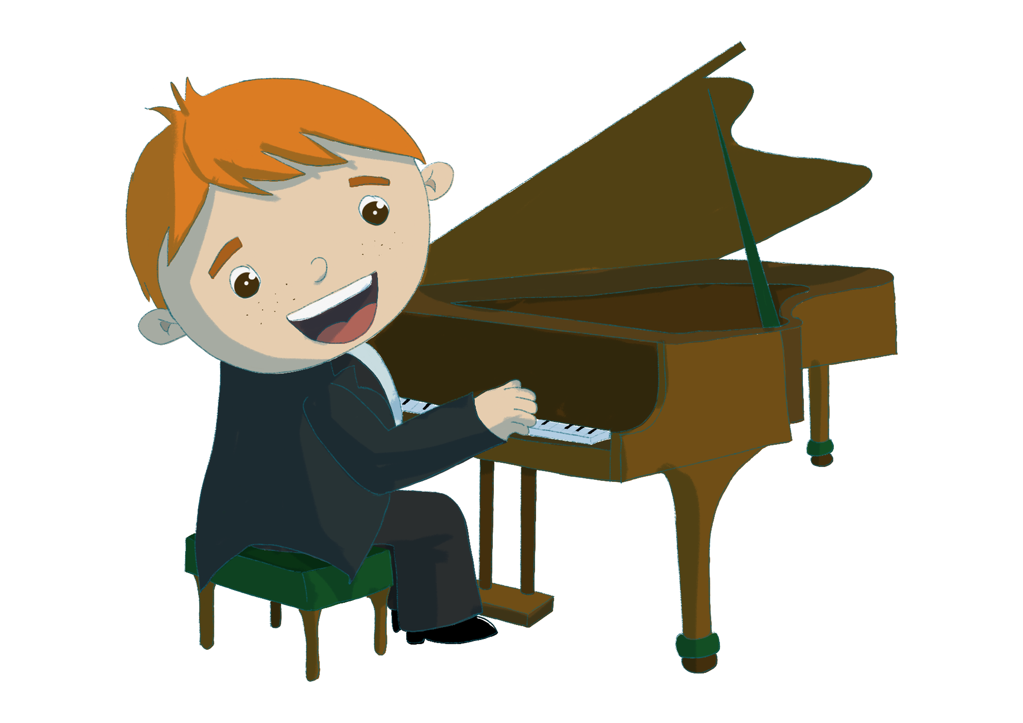 Music through the ages. Piano clipart boy