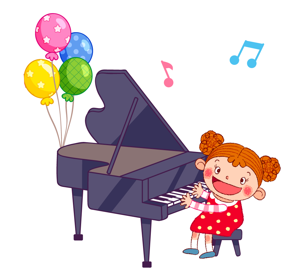 Cartoon illustration playing the. Piano clipart little girl