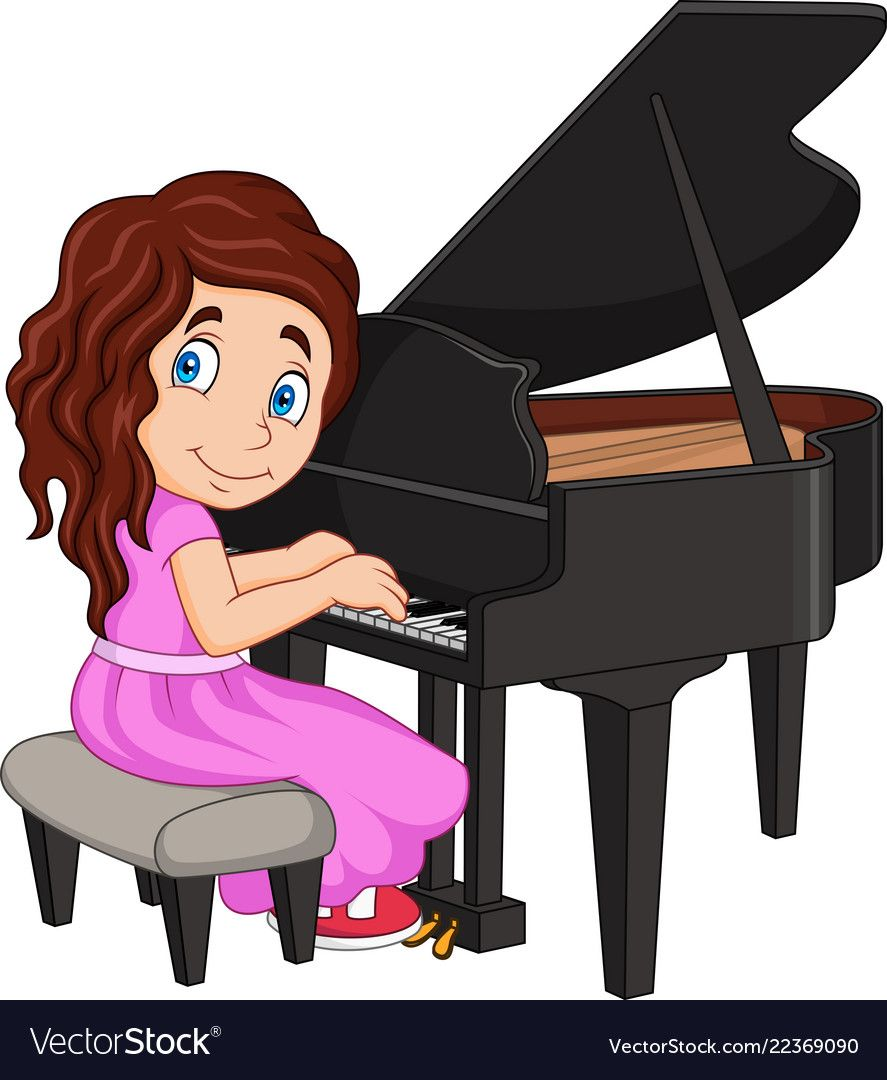 Little girl playing royalty. Piano clipart cartoon play