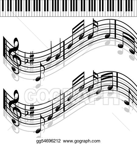 Piano clipart melodies. Stock illustrations music notes