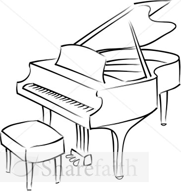 Free download best . Piano clipart black and white