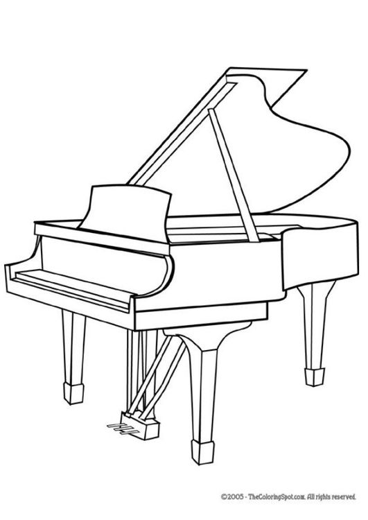 Coloring page grand in. Clipart piano outline