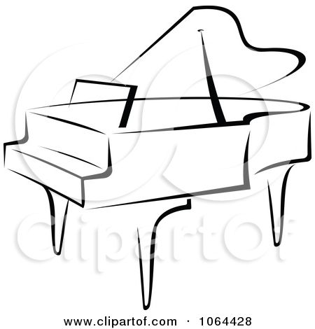 Grand in black and. Piano clipart free vector