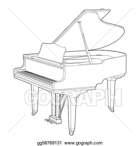 Vector stock illustration gg. Piano clipart outline
