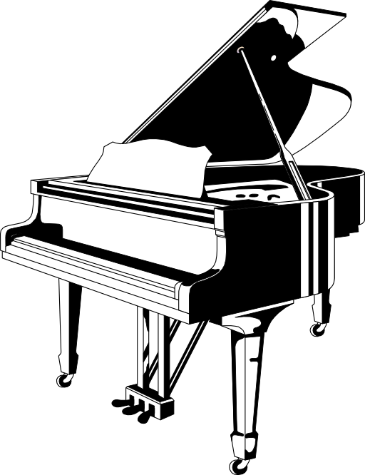 Black white i royalty. Piano clipart cartoon play