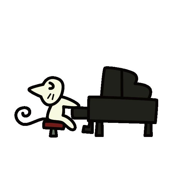 Cat Piano Keyboard Illustration