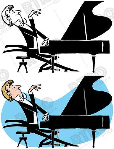 A cartoon of pianist. Piano clipart piano concert