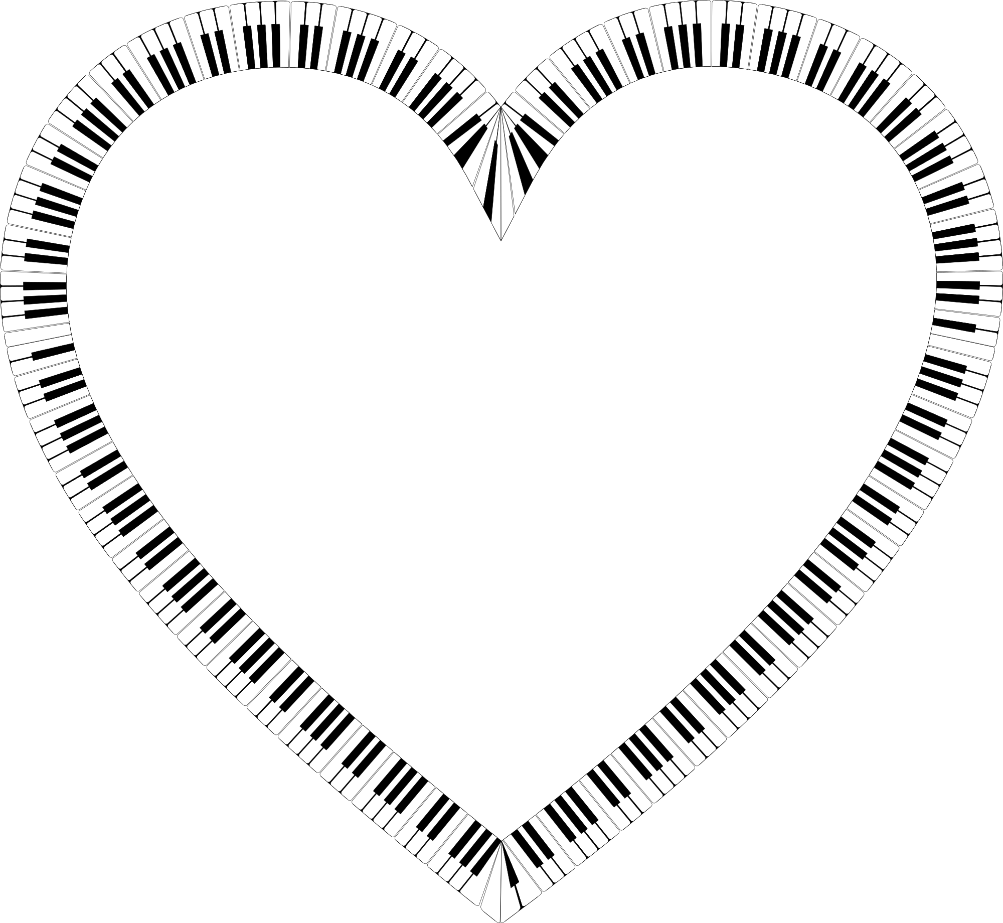 Free keys shape png. Piano clipart heart
