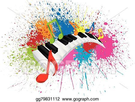 Vector illustration wavy keyboard. Piano clipart abstract