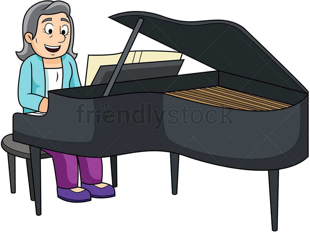 Old woman playing the. Clipart piano royalty free
