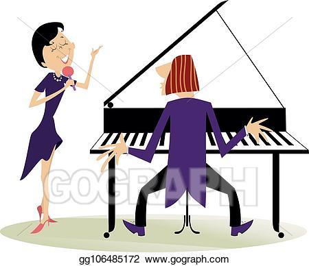 Piano clipart singer. Vector couple musicians woman