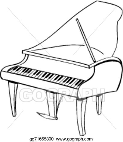 Piano clipart music instrument. Vector stock doodle illustration