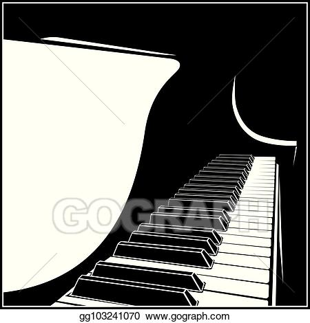 Piano clipart stylized. Vector illustration grand stock