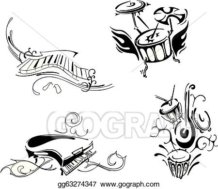 Eps illustration and percussion. Clipart piano stylized