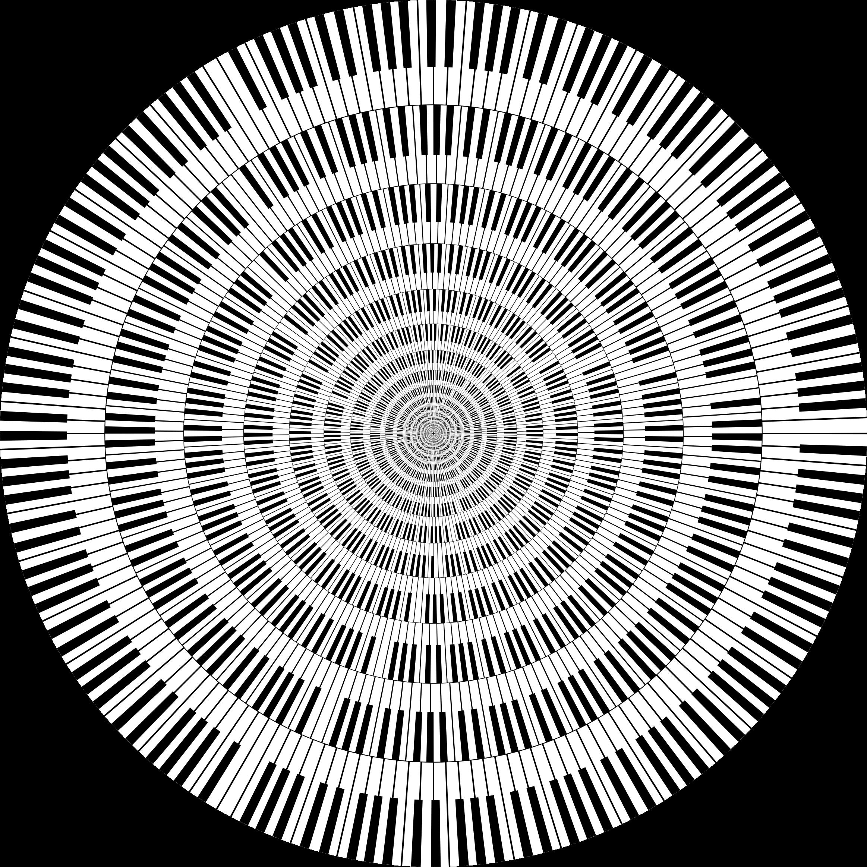Keys circle vortex big. Piano clipart abstract